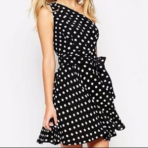 ASOS One Shoulder Spotted Mini Dress With Sash Bow