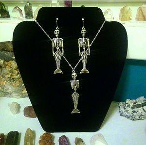 Accessories - Mermaid Skeleton Earring Necklace Set