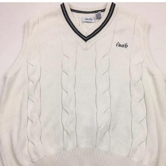 Izod Sweaters Mens Cable Knit Sweater Vest Golf Logo L Poshmark