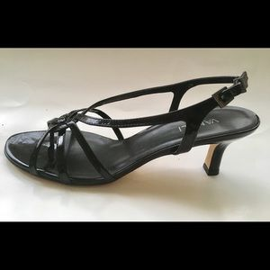 Black patent leather sandals heels size 9