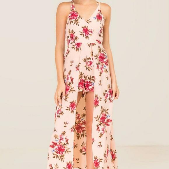 e66727f3bd5 NWT FRANCESCA Pink Floral Romper Maxi Dress