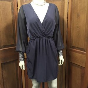Solemio Long Sleeve Sequin Cuff Gray Dress Medium