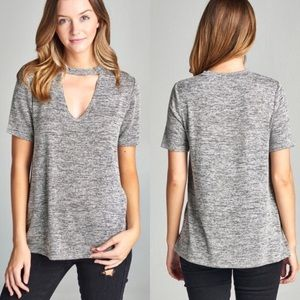 Tops - Gray Choker Top