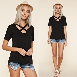 Tops - Black Front Cross Scoop Neck Top