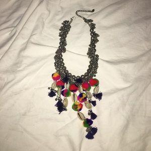 Zara Tassels Shells Poms Necklace