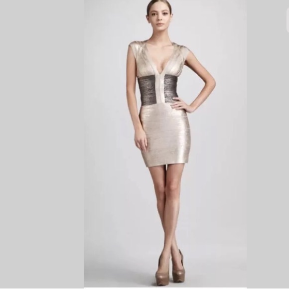 a55b3913f266 Herve Leger Dresses   Skirts - Herve Leger Melena Rose Gold Metallic Dress  XS
