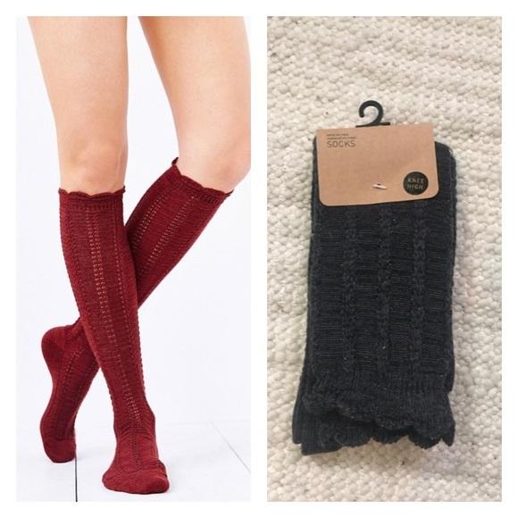 e0e2036fe28 UO Grey Knee High Braided Socks