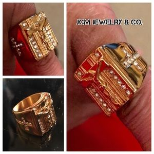 Other - 14K Gold Plated Crucifix Pinky Ring (Size 6)