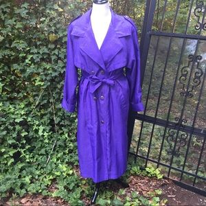 RARE VTG 80's J. GALLERY Purple Trench/Rain Coat