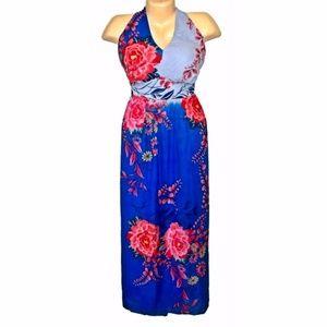 Fashion Bug Tropical Blue Floral Halter Maxi Dress
