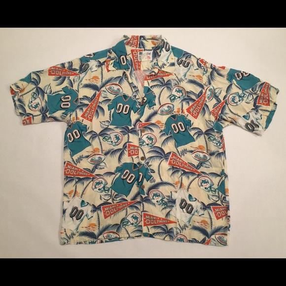 7a74d7c92 Vintage Miami Dolphins Hawaiian Button Shirt Sz L.  M_59aeae2d6d64bcc5e2030a6f