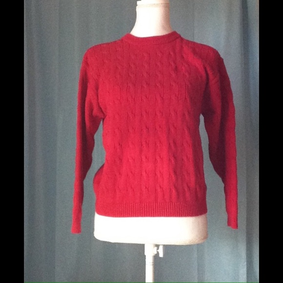 98% off Izod Sweaters - Red Cable knit crew neck pullover sweater ...