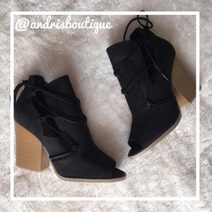 Shoes - Black Open Toe Bootie