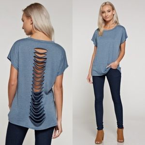 Tops - LastOne!Dusty Blue Oversized Laser Cut Detail Back