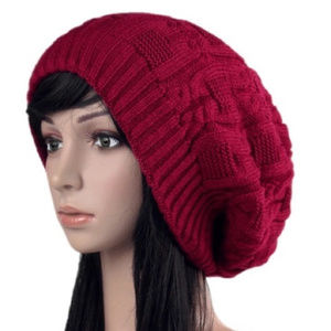 Accessories - Red slouch knitted hat beanie