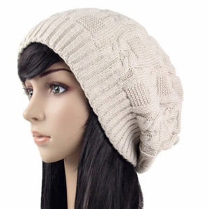 Accessories - Beige slouch knitted hat beanie