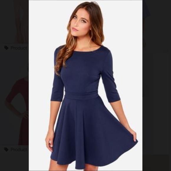 Lulu s Dresses   Skirts - Lulu s Just a Twirl navy blue dress f08fc4972