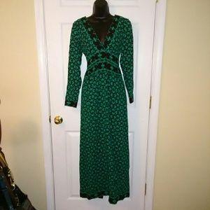 Anna Sui 2 black label maxi dress silk blend