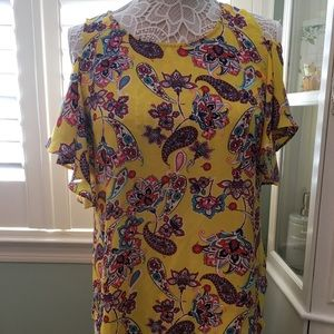Tops - Yellow floral cold shoulder blouse