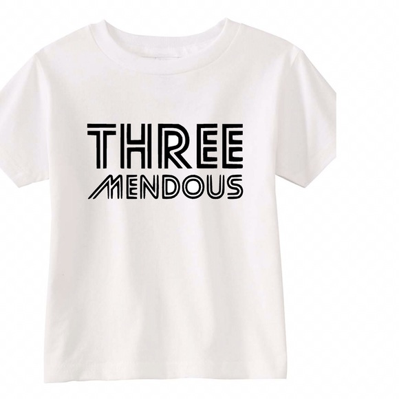 Kids Birthday Tees Three Mendous 3 Years All Sizes