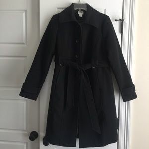 Motherhood Maternity Long Black Pea Coat