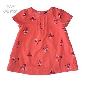 Baby Gap Coral Corduroy Floral Dress 3-6 mon