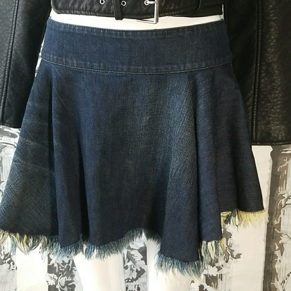 enjoy big discount laest technology separation shoes Free People Raw Denim Fit and Flare Mini Skirt