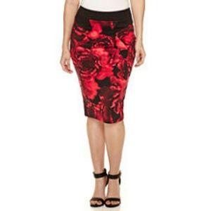 Bisou Bisou Zip Back Red Floral Pencil Skirt