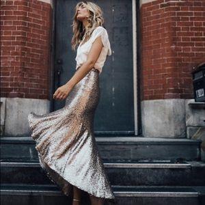 BHLDN gold cosmos skirt