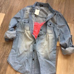 NEW Chambray Denim Button Up Oxford Shirt