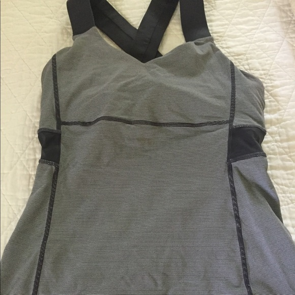 lululemon athletica Tops - Lululemon round neck striped workout top with mesh