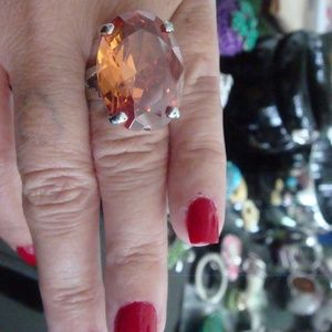 HUGE APPROX 30 CTW SOLITAIRE DARK APRICOT RING