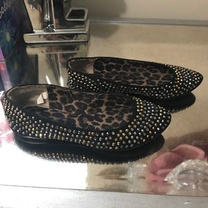 Other - Black flat shoes with the silver and gold stone