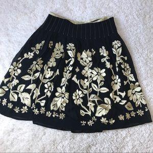 Anthro Odille black floral skirt