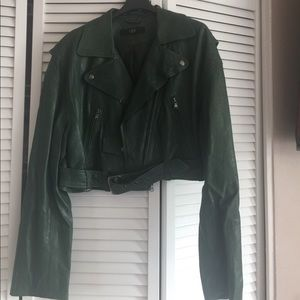 Forest green leather jacket crop/ size L