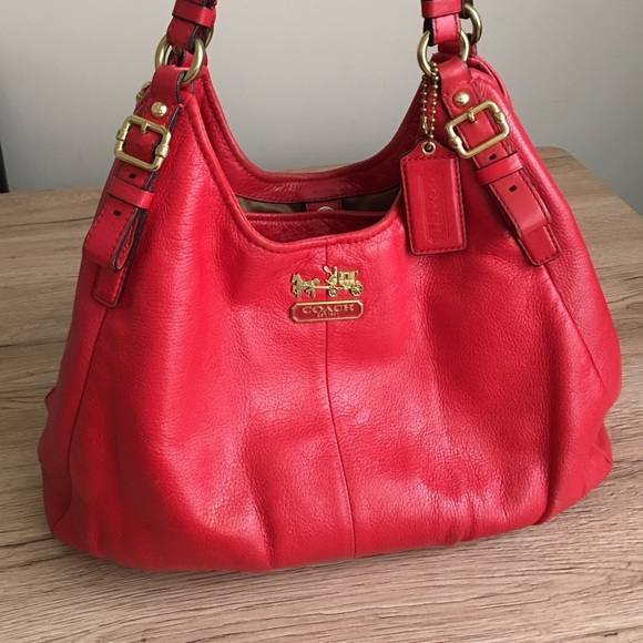 6676cafc74 Coach Handbags - Coach Madison Maggie red shoulder bag