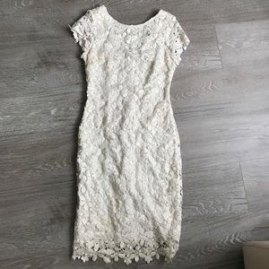 Cache Off white gold shimmer floral lace dress