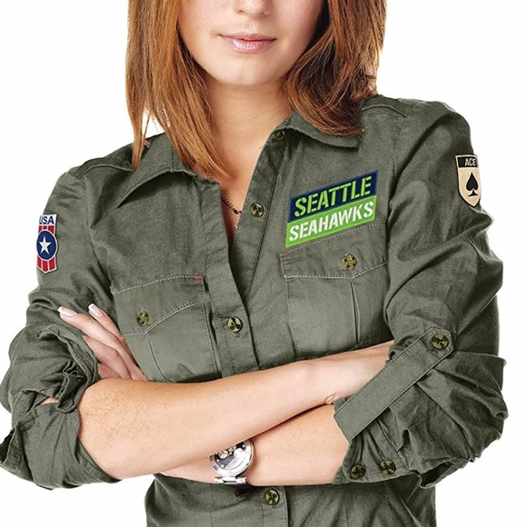 half off 8ab25 b7529 Seattle Seahawks Women's Military Shirt Boutique