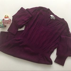 Liz Lange Maternity Purple V-Neck Sweater XSmall