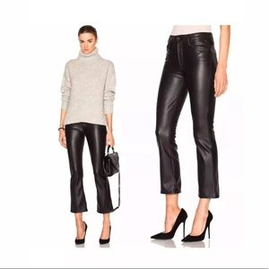 Mother The Crop Insider Faux Leather Crop 26