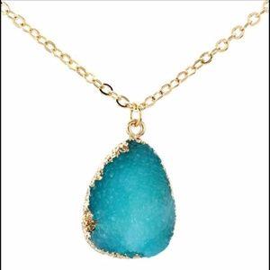 Blue Raw Druze Necklace