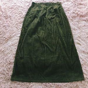 Dark Olive Green Corduroy Maxi Skirt