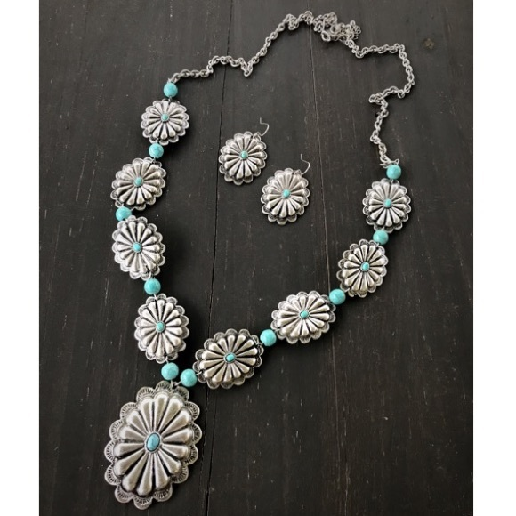 Long Silver Concho Necklace