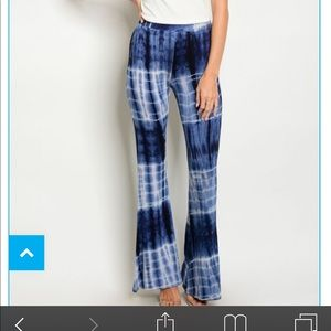 Pants - Blue tie dyed palazzo pants. Stretcy TTS.