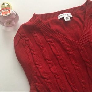 Liz Lange Maternity Red V-Neck Sweater Extra Small