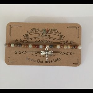 Stretch bracelet with lace agate 3mm stones