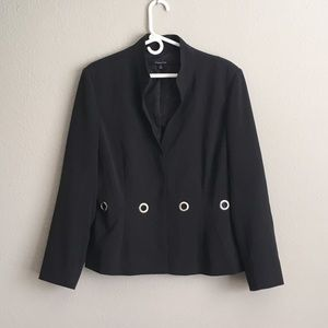 Black Jacket Blazer w Grommets - Lined