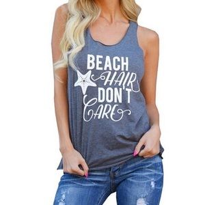 Tops - Beach Hair Dont Care Gray Tank
