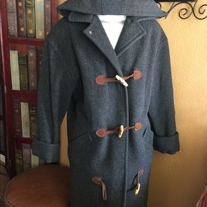 TALBOTS pea hooded coat in grey size 10