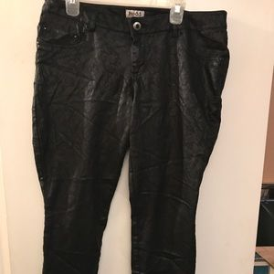 Leather, printed pants